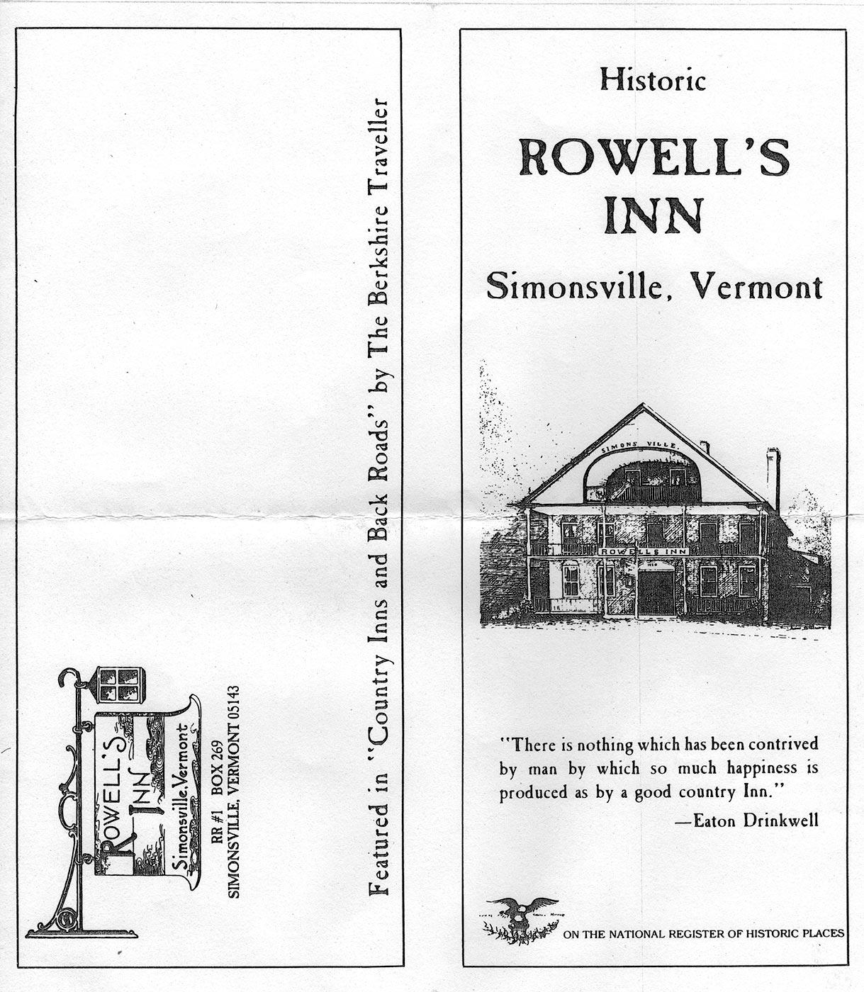 Rowell's Inn - Old Brochure