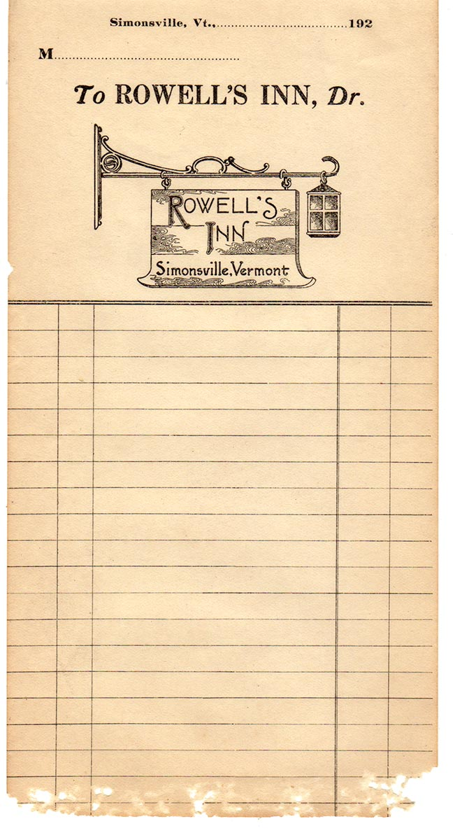 Old Printed Form - Rowell's Inn Historic Image