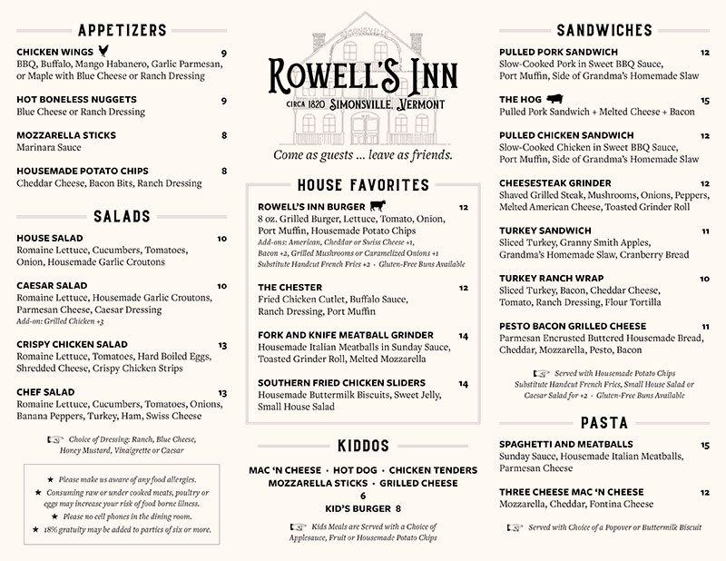 Rowell's Inn Take Out Menu